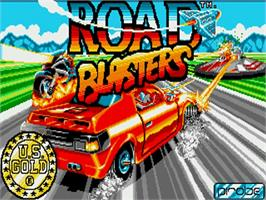 Title screen of Road Blasters on the Commodore Amiga.