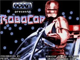 Title screen of Robocop on the Commodore Amiga.