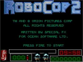 Title screen of Robocop 2 on the Commodore Amiga.
