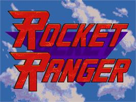 Title screen of Rocket Ranger on the Commodore Amiga.