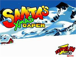 Title screen of Santa's Xmas Caper on the Commodore Amiga.