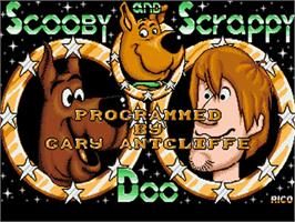Title screen of Scooby Doo and Scrappy Doo on the Commodore Amiga.