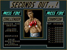 Title screen of Seconds Out on the Commodore Amiga.