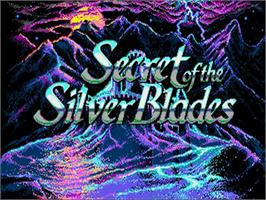 Title screen of Secret of the Silver Blades on the Commodore Amiga.
