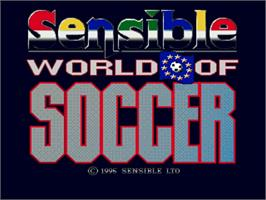 Title screen of Sensible World of Soccer on the Commodore Amiga.