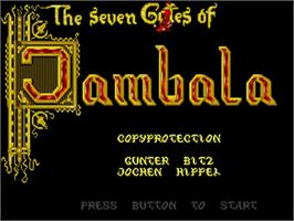 Title screen of Seven Gates of Jambala on the Commodore Amiga.