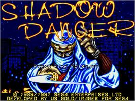 Title screen of Shadow Dancer on the Commodore Amiga.