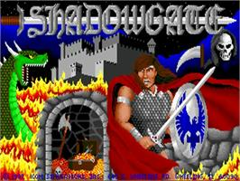 Title screen of Shadowgate on the Commodore Amiga.