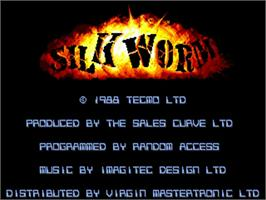 Title screen of Silk Worm on the Commodore Amiga.
