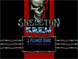 Title screen of Skeleton Krew on the Commodore Amiga.