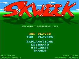 Title screen of Skweek on the Commodore Amiga.