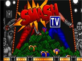 Title screen of Smash T.V. on the Commodore Amiga.