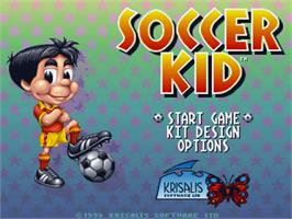 Title screen of Soccer Kid on the Commodore Amiga.
