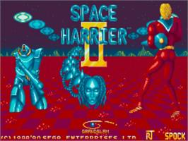 Title screen of Space Harrier II on the Commodore Amiga.