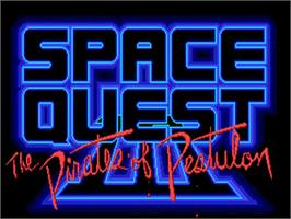 Title screen of Space Quest III: The Pirates of Pestulon on the Commodore Amiga.