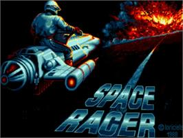 Title screen of Space Racer on the Commodore Amiga.