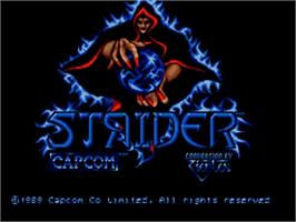 Title screen of Strider on the Commodore Amiga.