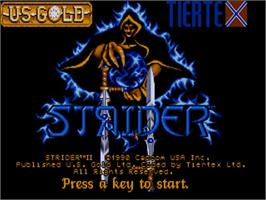 Title screen of Strider 2 on the Commodore Amiga.