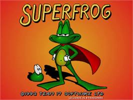 Title screen of Super Frog on the Commodore Amiga.