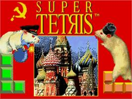 Title screen of Super Tetris on the Commodore Amiga.