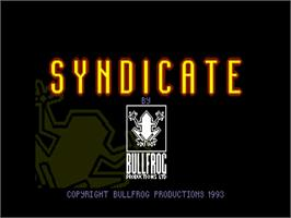 Title screen of Syndicate: American Revolt on the Commodore Amiga.