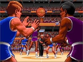 Title screen of TV Sports: Basketball on the Commodore Amiga.