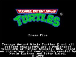 Title screen of Teenage Mutant Ninja Turtles on the Commodore Amiga.