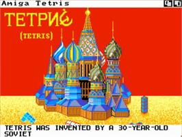 Title screen of Tetris on the Commodore Amiga.