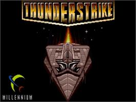 Title screen of Thunder Strike on the Commodore Amiga.