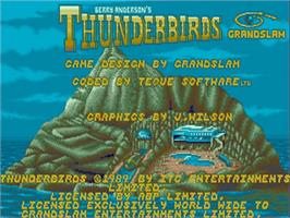 Title screen of Thunderbirds on the Commodore Amiga.