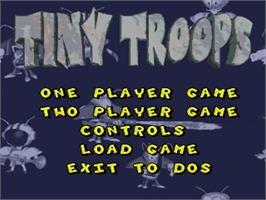 Title screen of Tiny Troops on the Commodore Amiga.