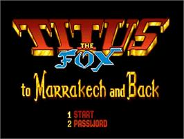 Title screen of Titus the Fox: To Marrakech and Back on the Commodore Amiga.