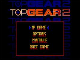 Title screen of Top Gear 2 on the Commodore Amiga.