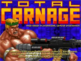 Title screen of Total Carnage on the Commodore Amiga.