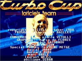 Title screen of Turbo Cup on the Commodore Amiga.