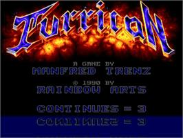 Title screen of Turrican on the Commodore Amiga.
