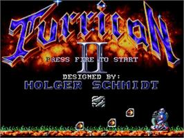 Title screen of Turrican II: The Final Fight on the Commodore Amiga.