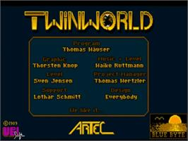 Title screen of TwinWorld: Land of Vision on the Commodore Amiga.