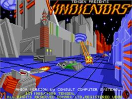 Title screen of Vindicators on the Commodore Amiga.