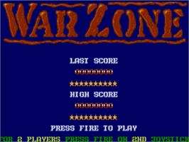 Title screen of War Zone on the Commodore Amiga.