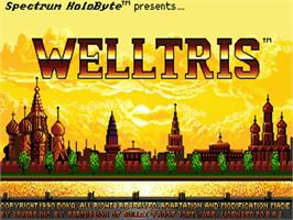 Title screen of Welltris on the Commodore Amiga.