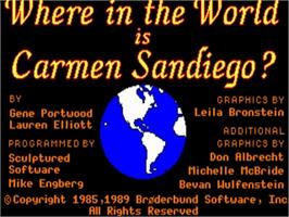 Title screen of Where in the World is Carmen Sandiego on the Commodore Amiga.