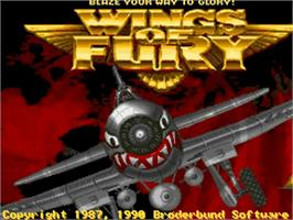 Title screen of Wings of Fury on the Commodore Amiga.