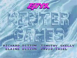 Title screen of Winter Games on the Commodore Amiga.