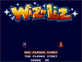 Title screen of Wiz 'n' Liz: The Frantic Wabbit Wescue on the Commodore Amiga.