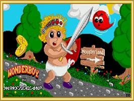 Title screen of Wonder Boy in Monster Land on the Commodore Amiga.