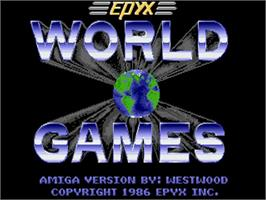 Title screen of World Games on the Commodore Amiga.