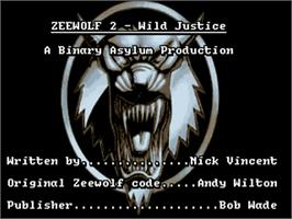 Title screen of Zeewolf 2: Wild Justice on the Commodore Amiga.