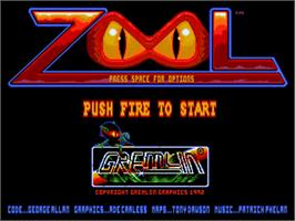 Title screen of Zool on the Commodore Amiga.