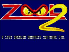 Title screen of Zool 2 on the Commodore Amiga.